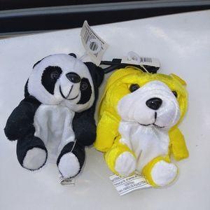 Lot 2 Panda & Puppy Coin bags
